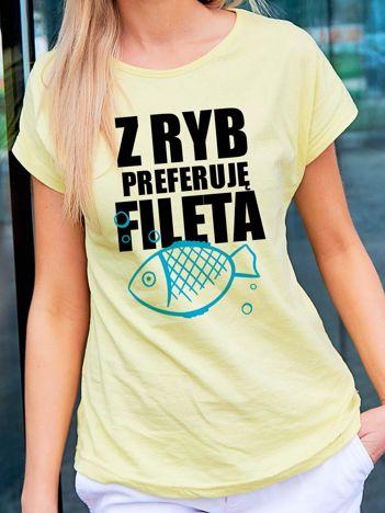 T-shirt damski Z RYB PREFERUJĘ FILETA jasnożółty
