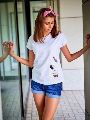 T-shirt damski  biały z naszywkami cekinowymi