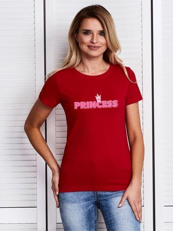 T-shirt damski czerwony z napisem PRINCESS dla par