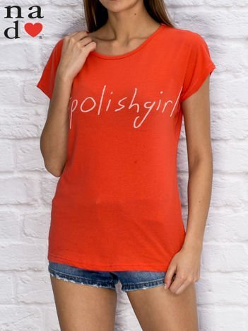 T-shirt damski hashtag czerwony