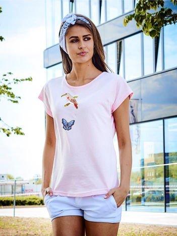 T-shirt damski jasnoróżowy z naszywkami ANIMALS