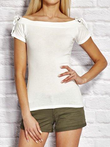 T-shirt damski w prążki z wiązaniem ecru
