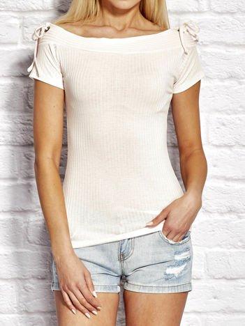 T-shirt damski w prążki z wiązaniem różowy