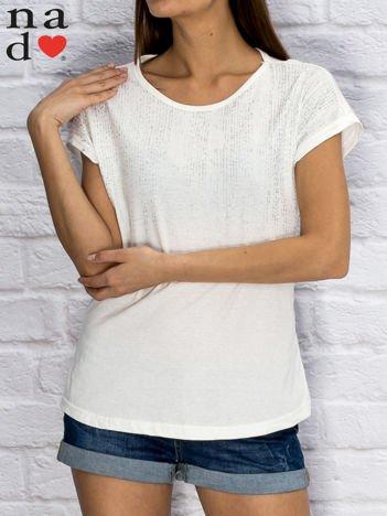 T-shirt damski z błyszczącym printem biały