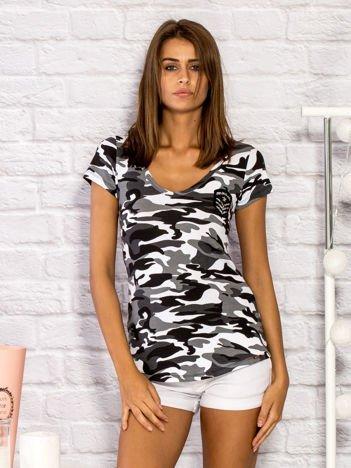 T-shirt damski z motywem moro i aplikacją biały