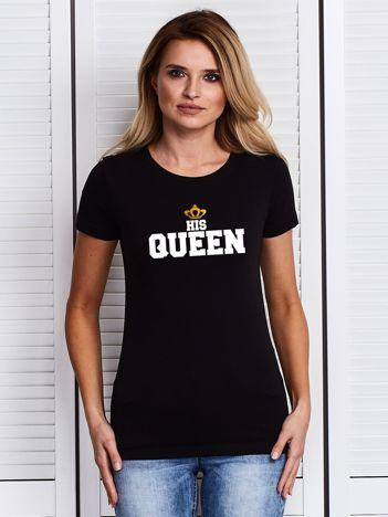 T-shirt damski z nadrukiem HIS QUEEN dla par czarny