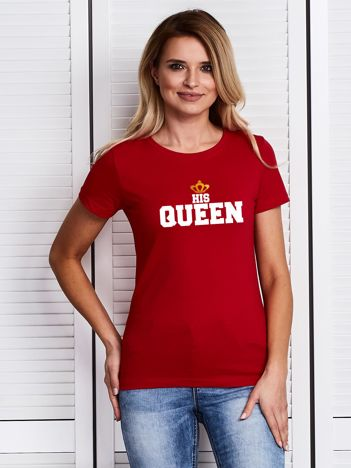 T-shirt damski z nadrukiem HIS QUEEN dla par czerwony