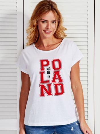 T-shirt damski z nadrukiem MADE IN POLAND biały