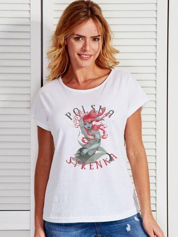 T-shirt damski z nadrukiem Warszawskiej Syrenki biały