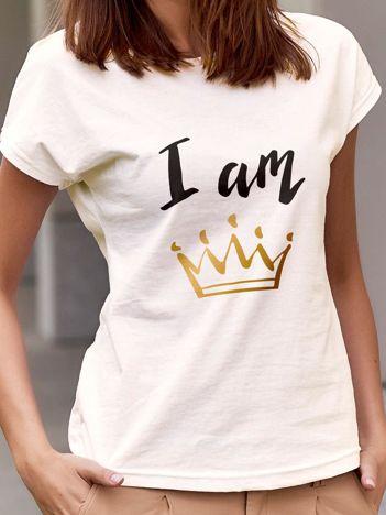 T-shirt damski z nadrukiem korony I AM THE QUEEN ecru