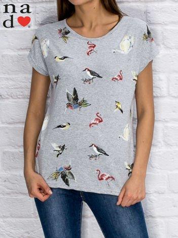 T-shirt damski z nadrukiem ptaków szary