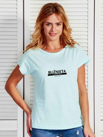 T-shirt damski z nadrukiem znaku zodiaku BLIŹNIĘTA miętowy