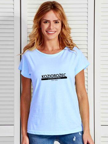 T-shirt damski z nadrukiem znaku zodiaku KOZIOROŻEC niebieski
