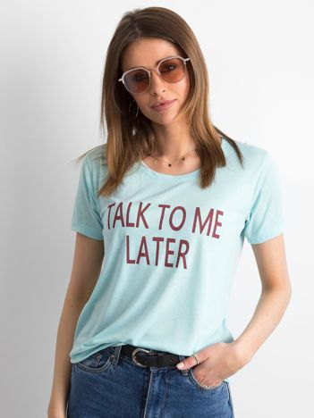 T-shirt damski z napisem miętowy