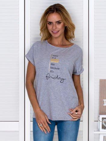 T-shirt damski z napisem szary