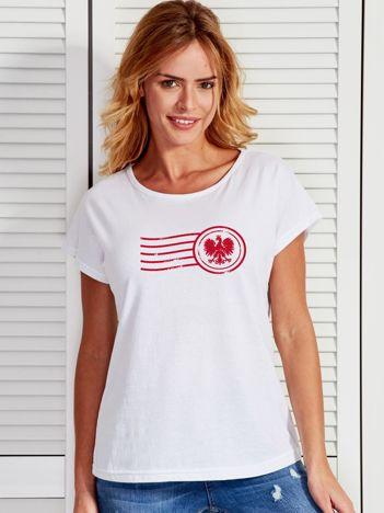 T-shirt damski z patriotycznym nadrukiem biały