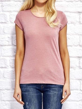 T-shirt damski z surowym wykończeniem różowy