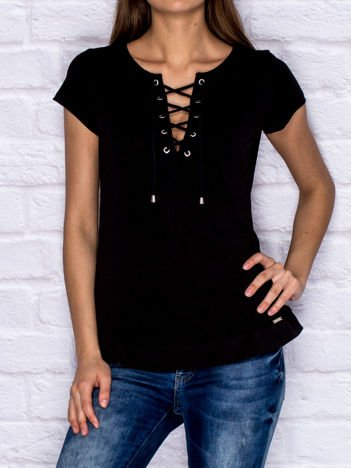 T-shirt damski z wiązaniem czarny
