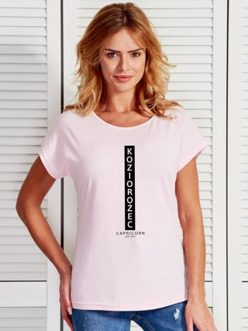 T-shirt damski znak zodiaku KOZIOROŻEC jasnoróżowy
