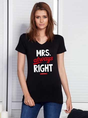 T-shirt dla par czarny MRS. ALWAYS RIGHT