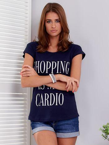T-shirt granatowy SHOPPING IS MY CARDIO