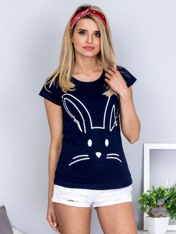 T-shirt granatowy z króliczkiem