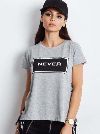 T-shirt jasnoszary ze sznurowaniem na bokach