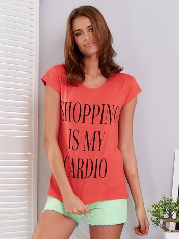 T-shirt koralowy SHOPPING IS MY CARDIO