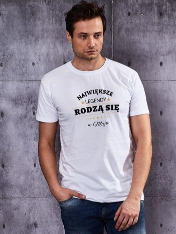 T-shirt męski biały NAJWIĘKSZE LEGENDY Z MAJA