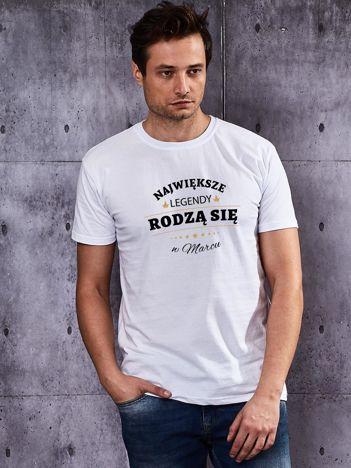 T-shirt męski biały NAJWIĘKSZE LEGENDY Z MARCA