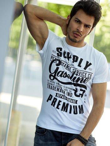 T-shirt męski biały z nadrukiem vintage