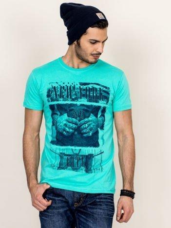 T-shirt męski miętowy New York