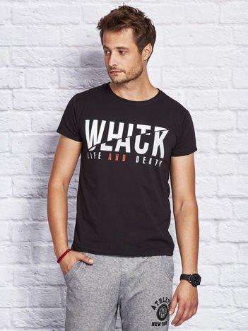 T-shirt męski w miejskim stylu czarny