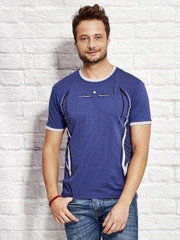 T-shirt męski z modelującym nadrukiem ciemnoniebieski