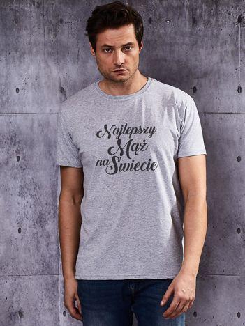 T-shirt męski z nadrukiem NAJLEPSZY MĄŻ NA ŚWIECIE szary
