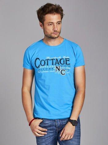 T-shirt męski z nadrukiem vintage niebieski