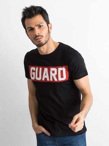 T-shirt męski z napisem czarny