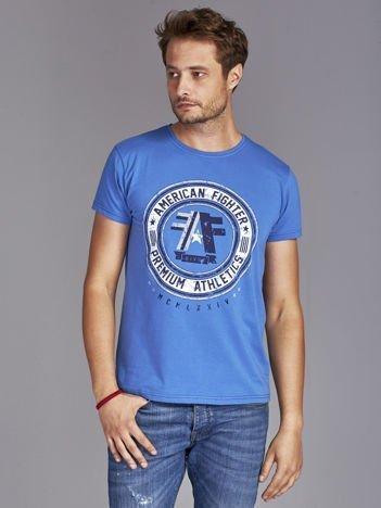 T-shirt męski z okrągłym nadrukiem ciemnoniebieski