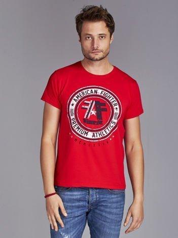 T-shirt męski z okrągłym nadrukiem czerwony