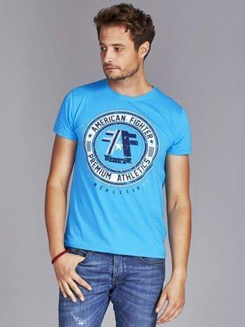 T-shirt męski z okrągłym nadrukiem niebieski