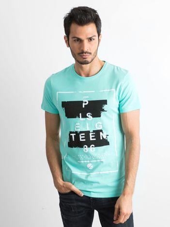 T-shirt męski z printem miętowy