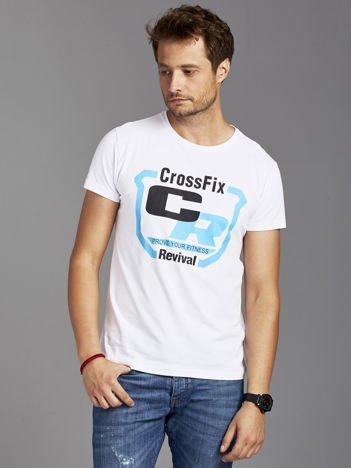 T-shirt męski ze sportowym nadrukiem biały