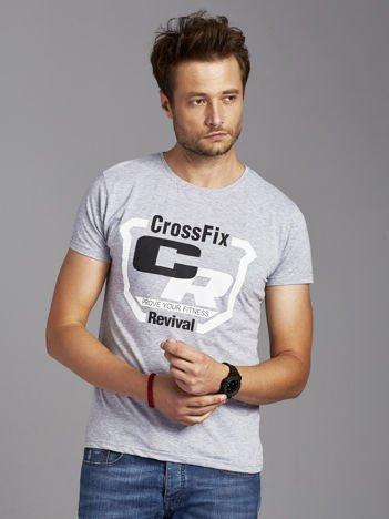 T-shirt męski ze sportowym nadrukiem szary