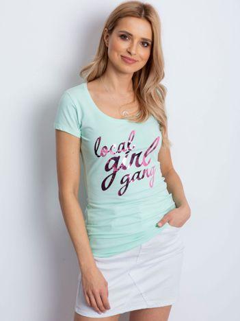 T-shirt miętowy z napisem