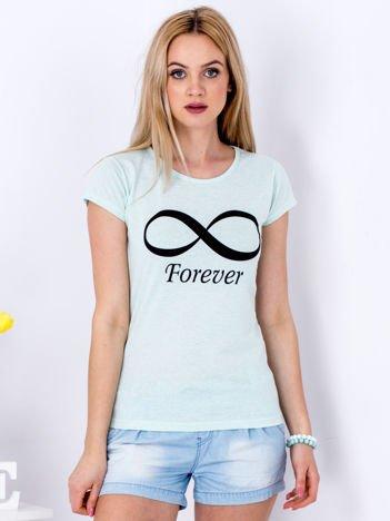 T-shirt miętowy ze znakiem nieskończoności