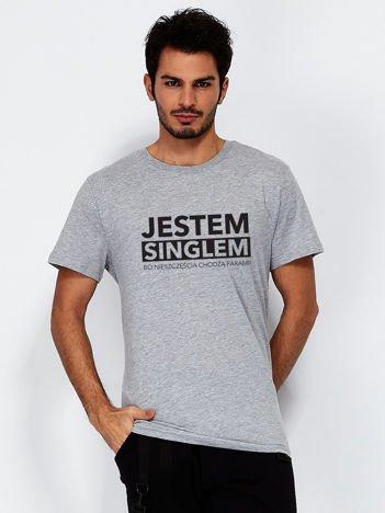 T-shirt szary męski z zabawnym nadrukiem dla singli