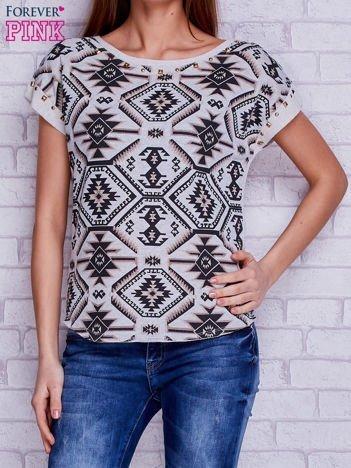 T-shirt w azteckie wzory z suwakiem i ćwiekami beżowo-brązowy