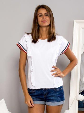 T-shirt z falbankami i ozdobną lamówką biały