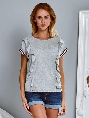 T-shirt z falbankami i ozdobną lamówką ciemnoszary