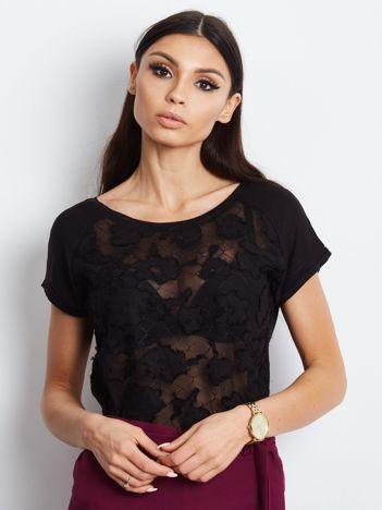 T-shirt z koronkową wstawką czarny